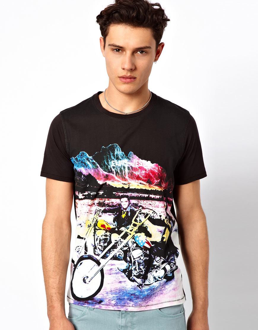 Elvis jesus tshirt easy rider in black for men lyst for Elvis jesus t shirt