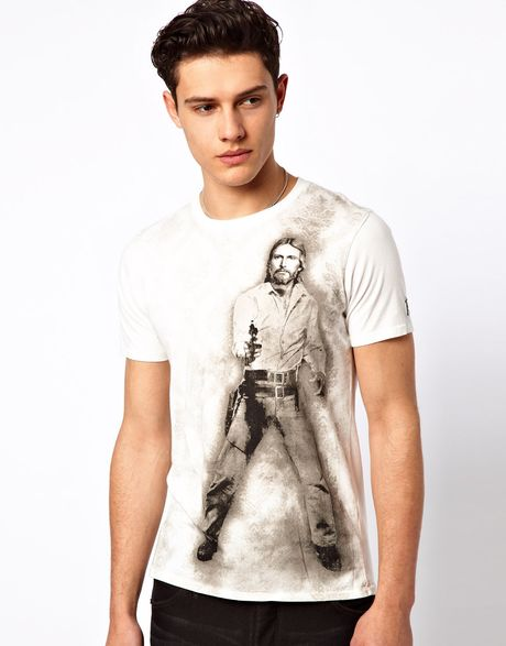 Elvis jesus warhol t shirt in white for men lyst for Elvis jesus t shirt
