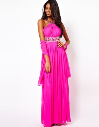 Forever Unique Halter Maxi Dress with Embellished Waist - Lyst