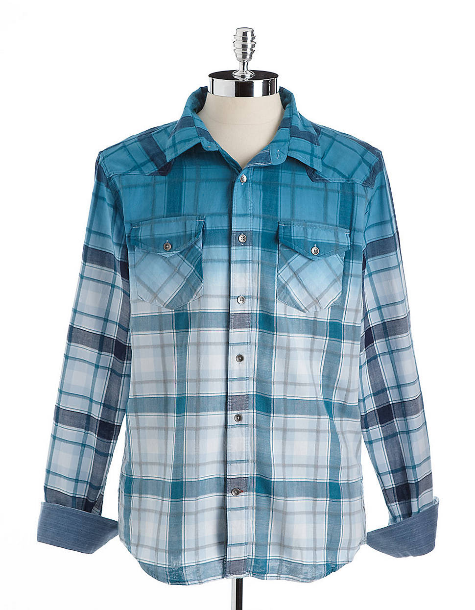 Guess Plaid Dip Dye Flannel Shirt In White For Men Blue