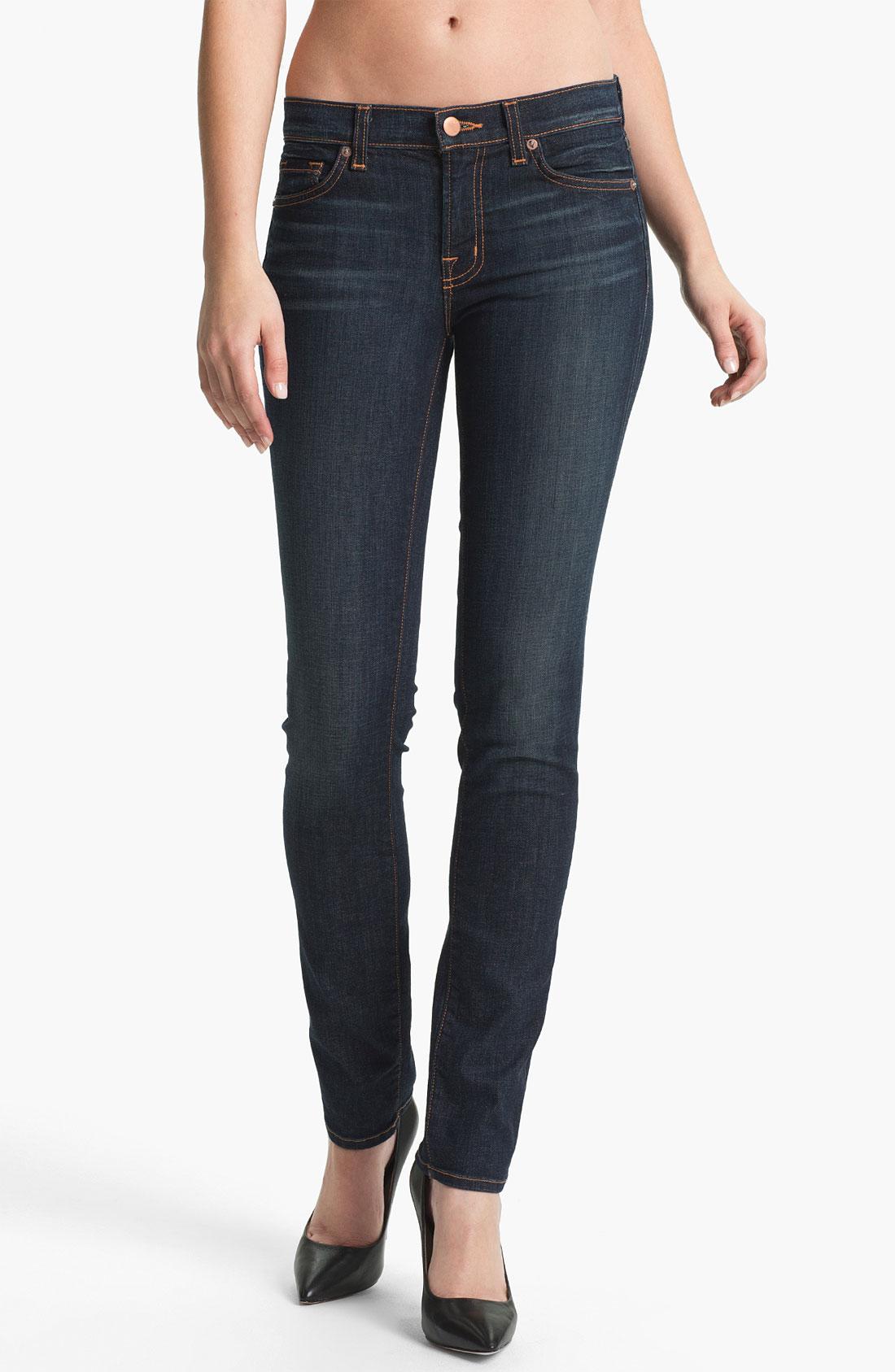 j brand stretch denim skinny jeans dark vintage in blue dark vintage lyst. Black Bedroom Furniture Sets. Home Design Ideas