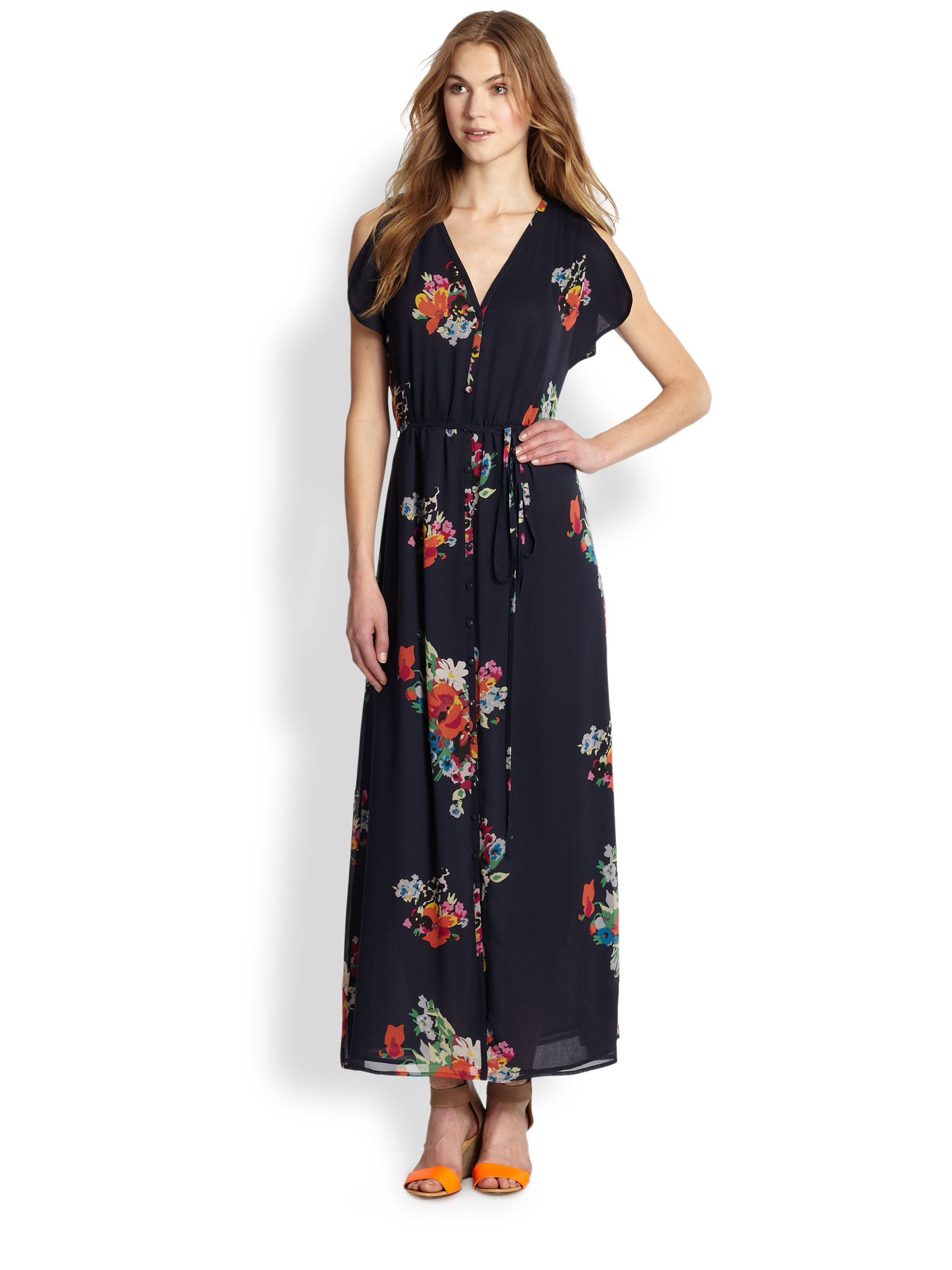 Joie Lunaria Silk Maxi Dress in Blue | Lyst