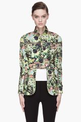 Kenzo Green Floral Pattern Convertible Casual Jacket