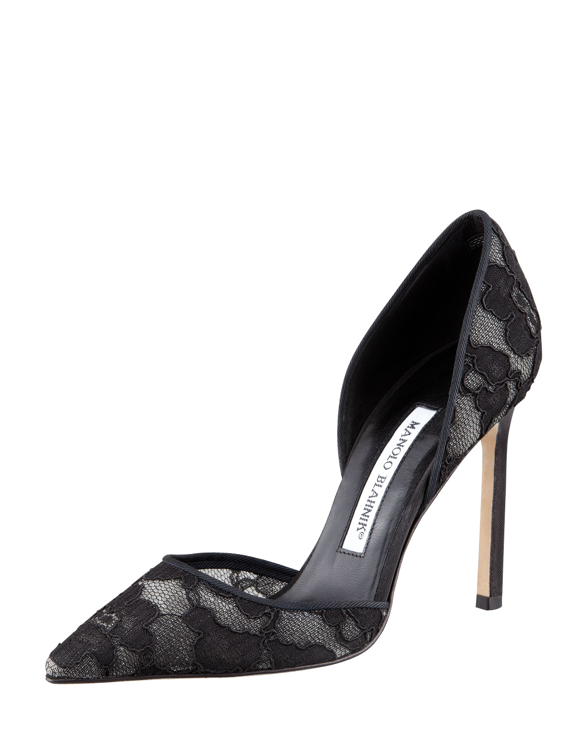 Lyst manolo blahnik tayler lace pointed dorsay pump blac for Who is manolo blahnik