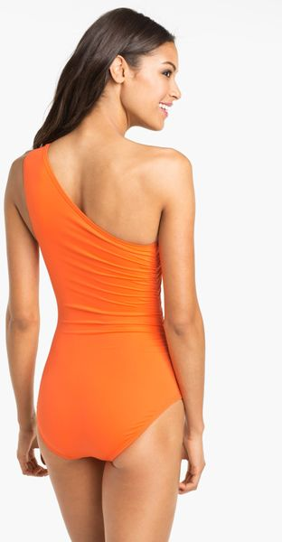Michael Michael Kors One Shoulder One Piece Swimsuit In