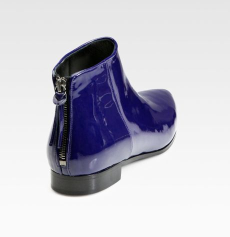 Miu Miu Patent Leather Ankle Boots In Blue Navy Lyst