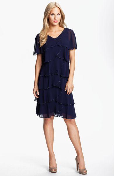 Patra Beaded Edge Layered Chiffon Dress in Blue (lapis)