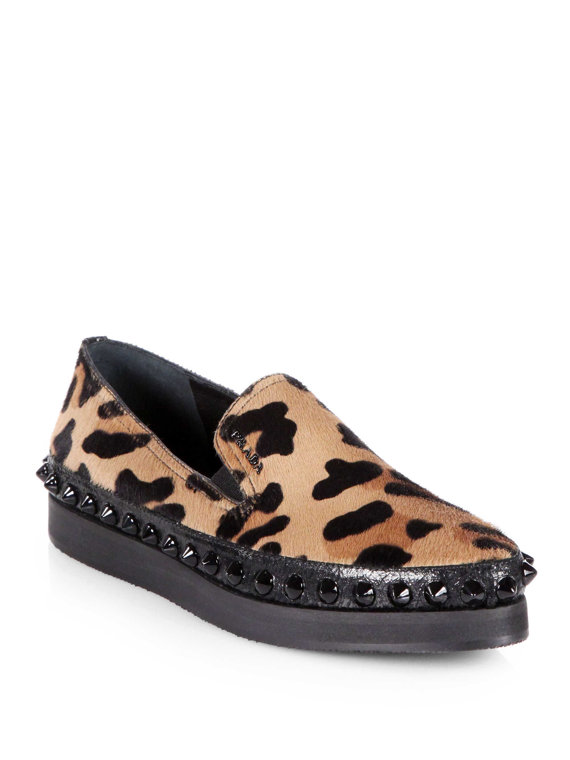 37fcbb53273 Lyst - Prada Leopardprint Calf Hair Studded Platform Loafers in Black
