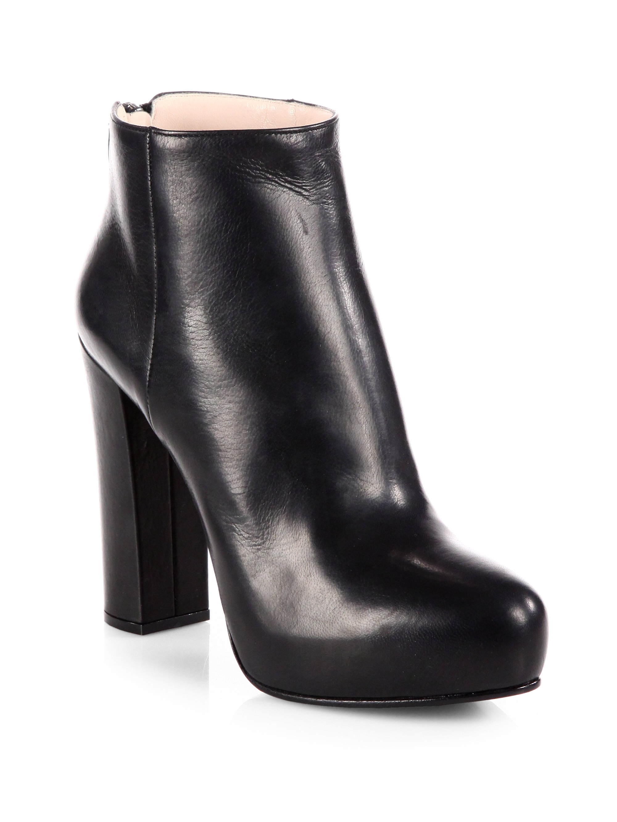 Prada Leather Platform Ankle Boots in Black | Lyst