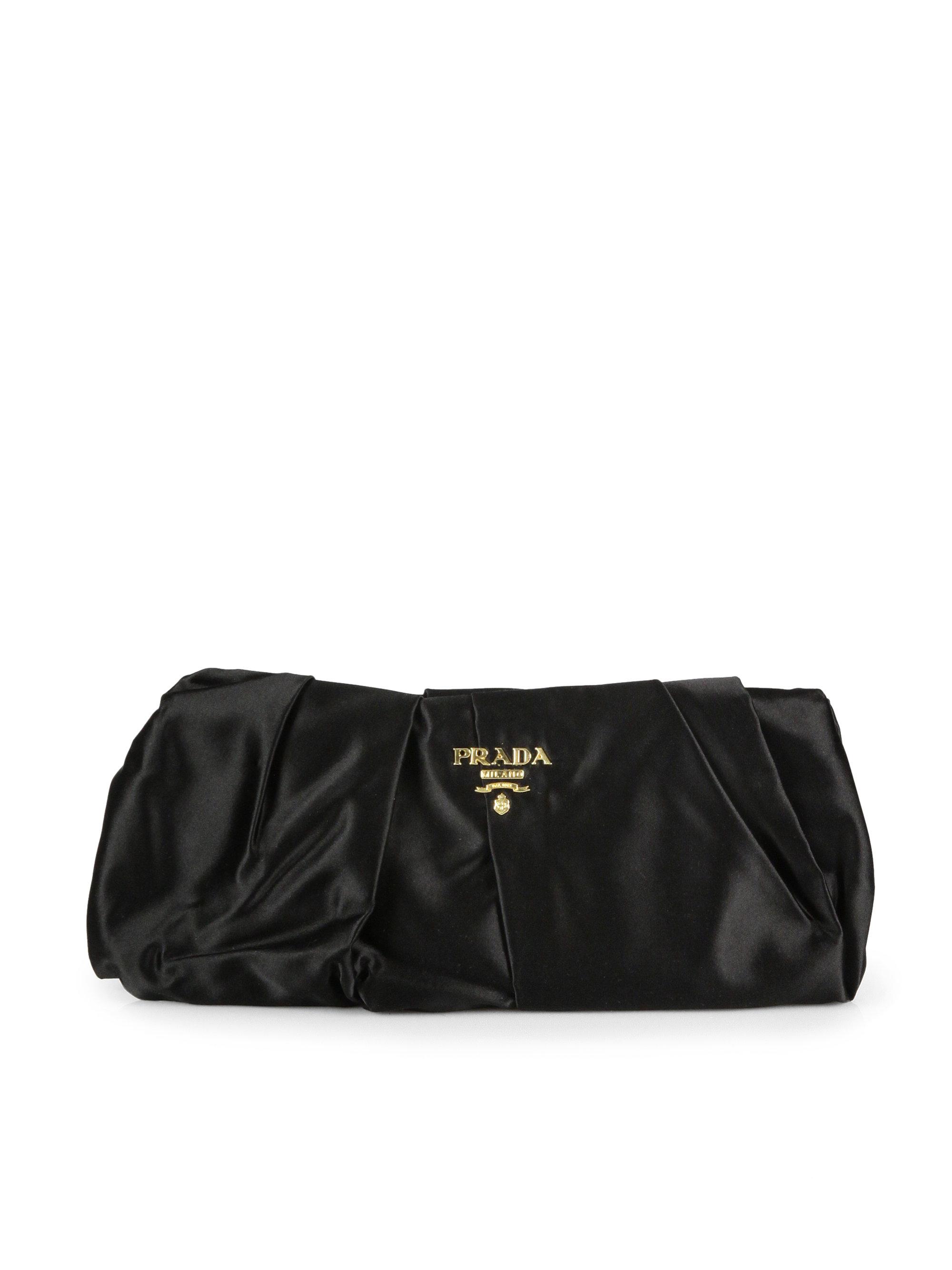 c5868c1c4d3e Prada Pleated Satin Clutch in Black (nero-black) | Lyst. sale prada diamond pleated  nylon tessuto ...