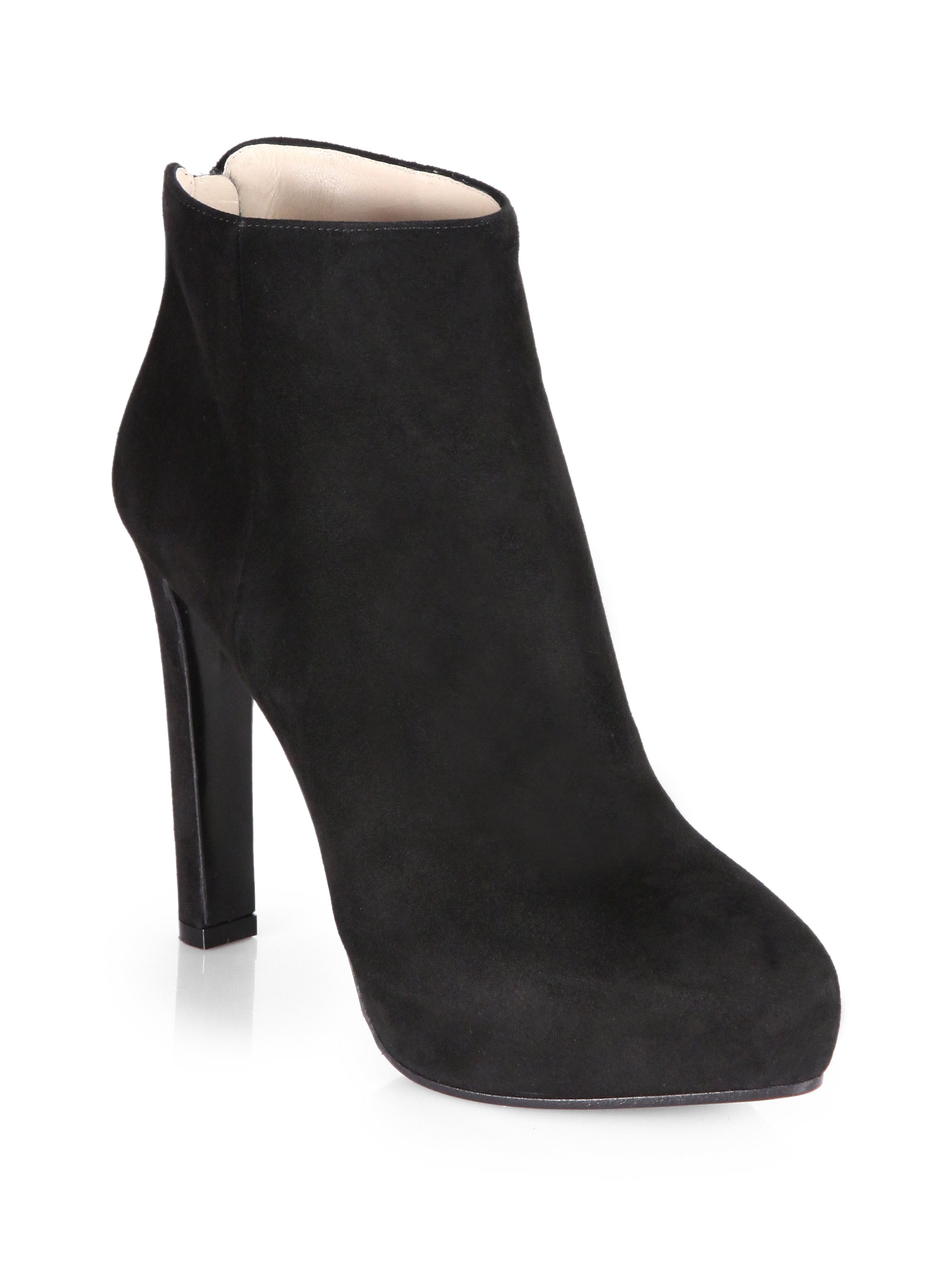 e522758854a Lyst - Prada Suede Platform Ankle Boots in Black