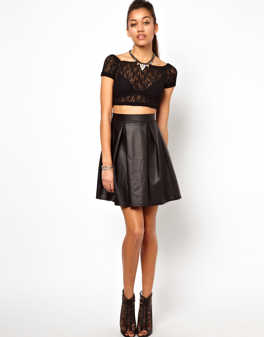 River island High Waisted Leather Look Skater Skirt in Black | Lyst