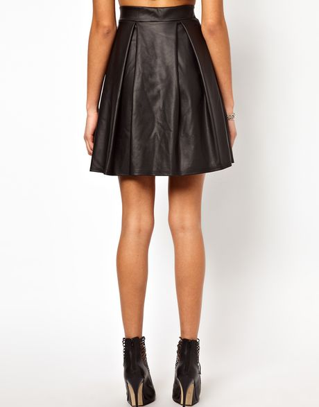 river island high waisted leather look skater skirt in