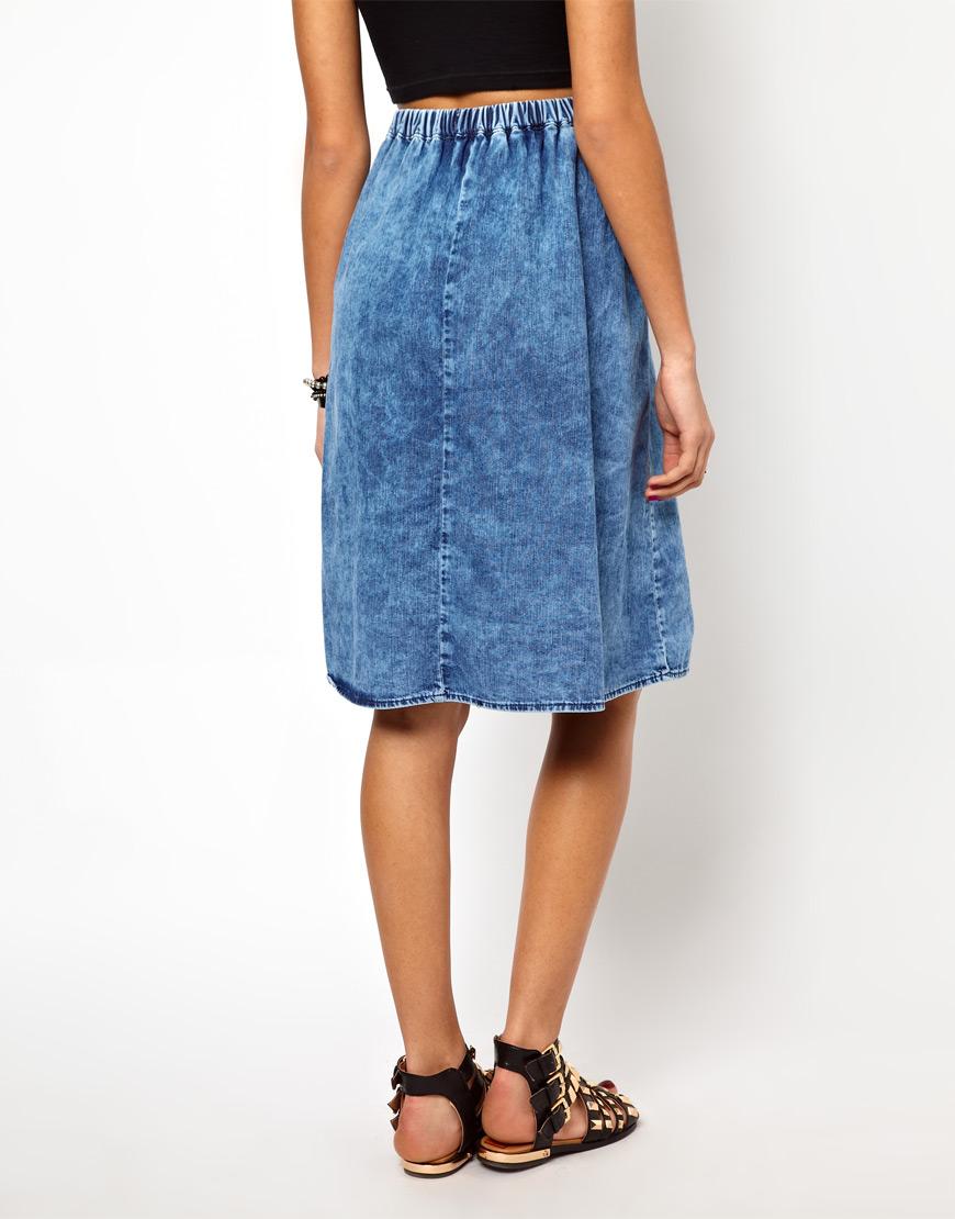 river island acid wash denim skirt in blue lyst