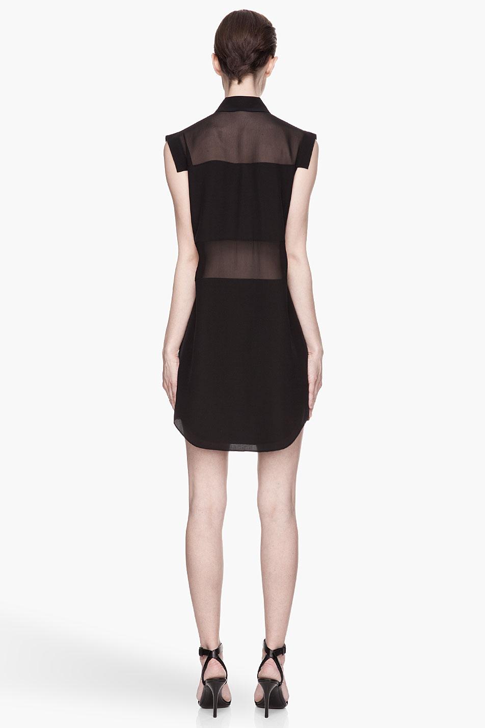 T by alexander wang Black Sheer Paneled Silk Chiffon Shirtdress in ...