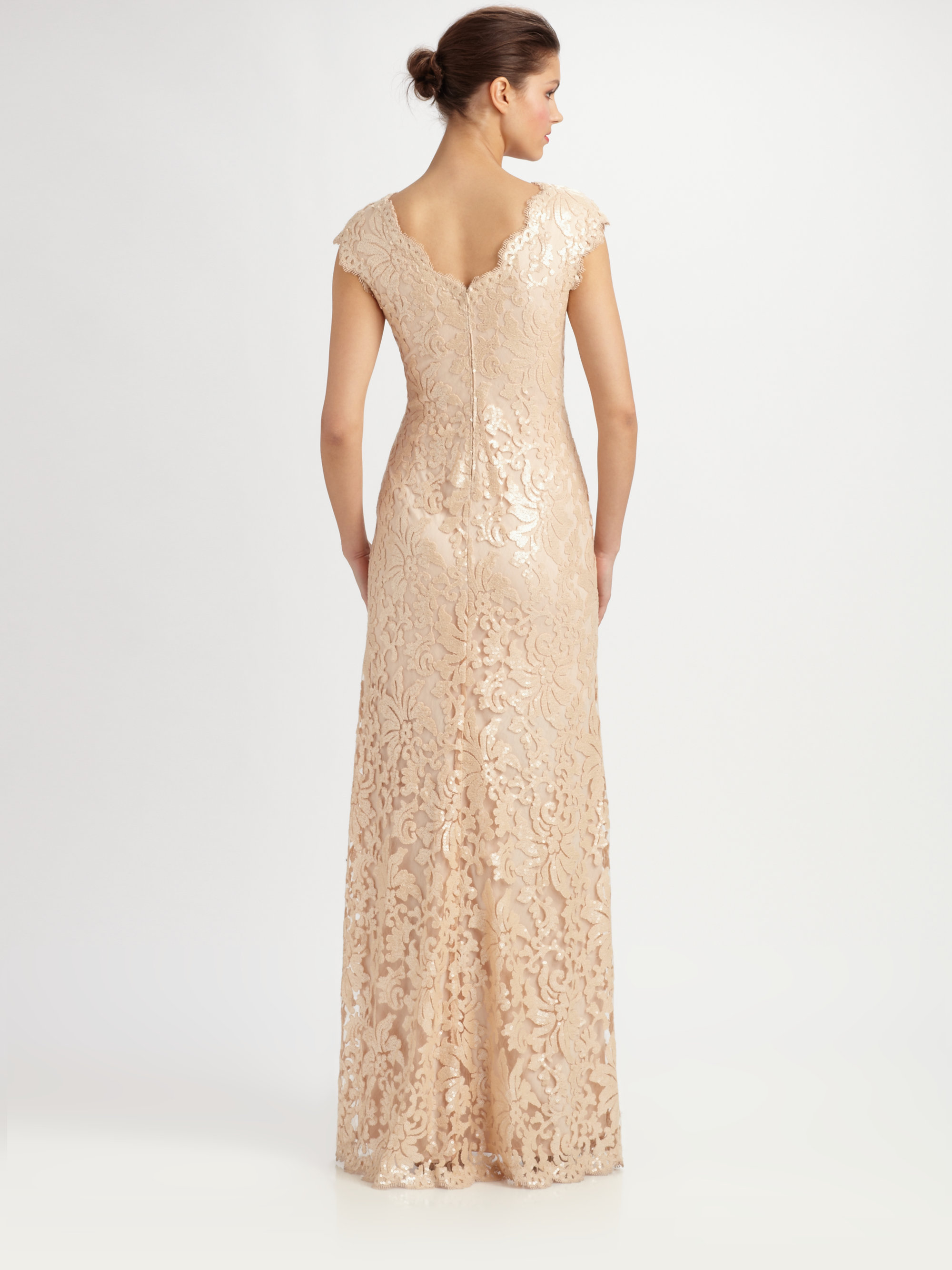 Lyst - Tadashi Shoji Sequined Lace Gown in Natural