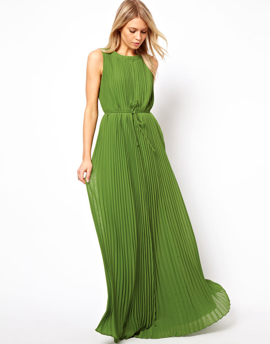 Ted baker Pleated Maxi Dress in Green  Lyst