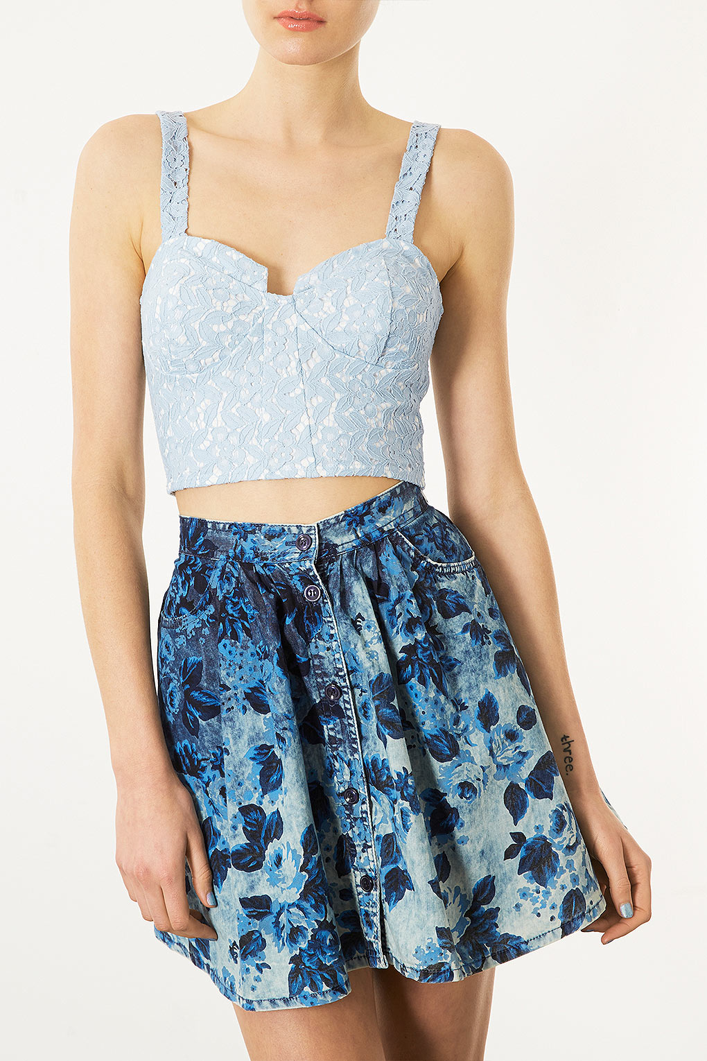 Topshop Lace Corset Bralet Top In Blue Lyst