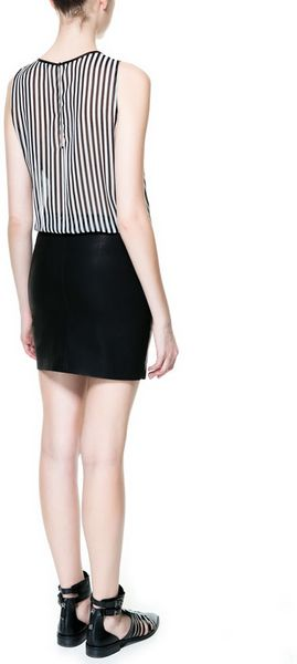 zara combination dress with stripes and faux leather skirt
