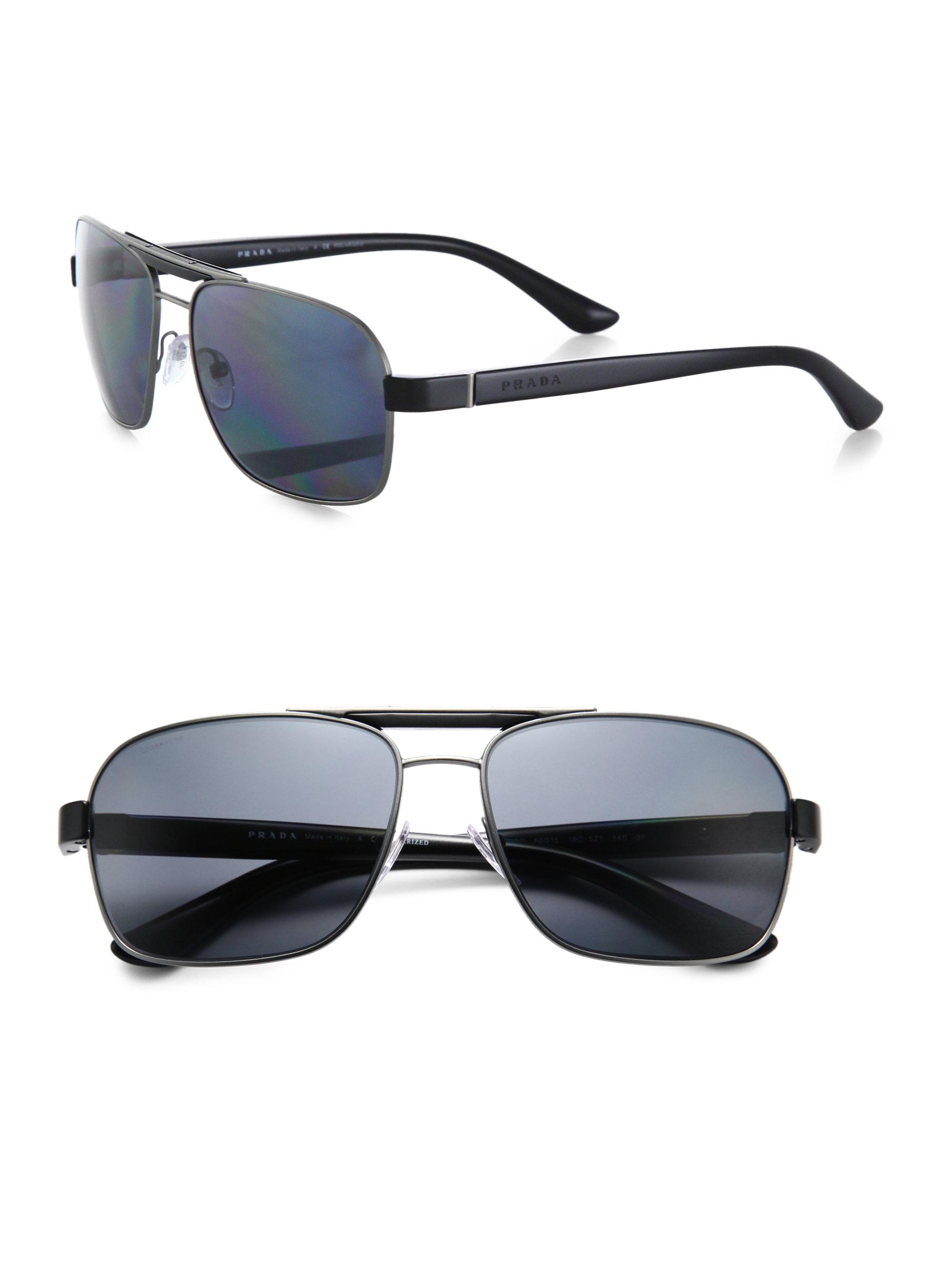 a98784655f7 clearance lyst prada triangle aviator sunglasses in black for men 2e7e6  8a663