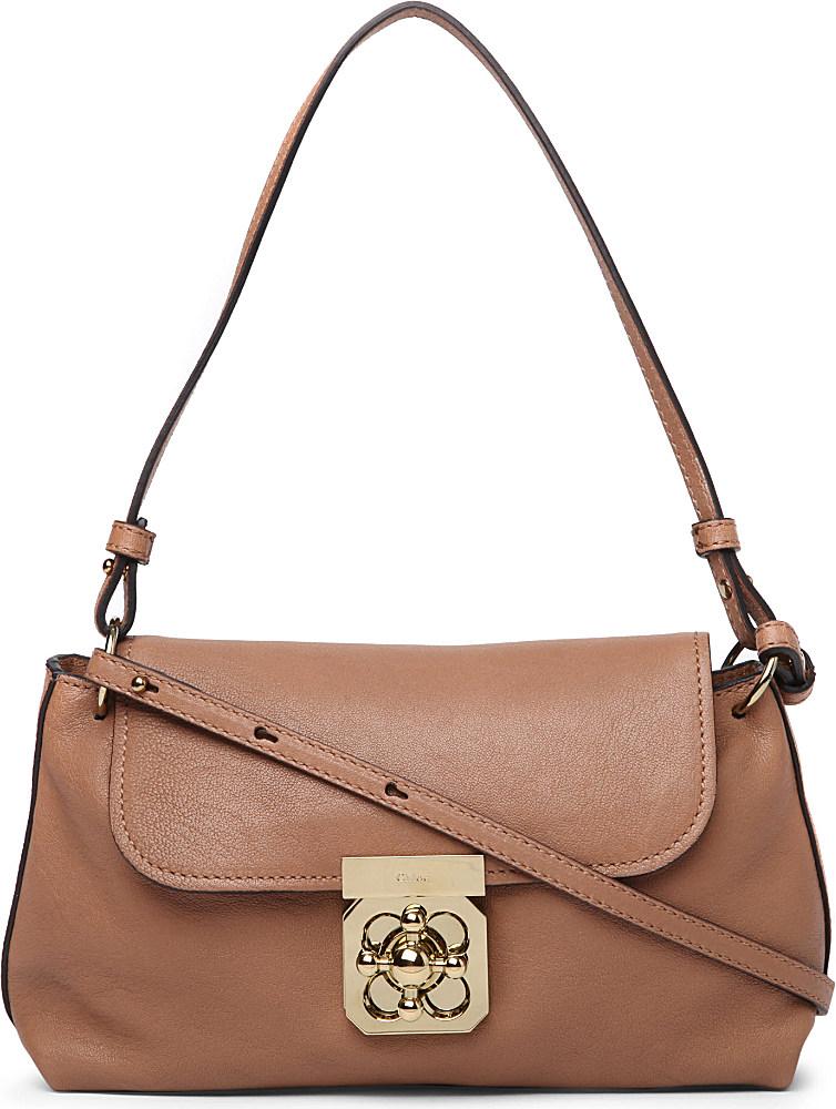 Chlo¨¦ Elsie Leather Crossbody Bag in Brown (nut)   Lyst