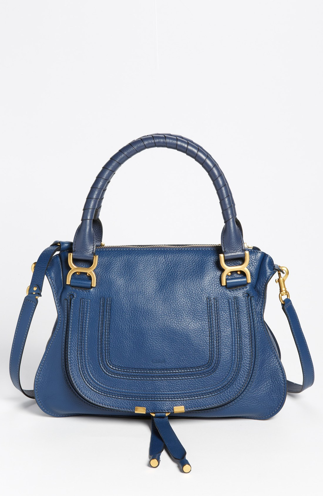 chlo medium marcie leather satchel in blue royal navy lyst. Black Bedroom Furniture Sets. Home Design Ideas