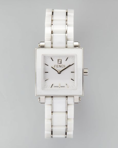 Fendi Square Ceramic Stainless Steel Watch In White Lyst