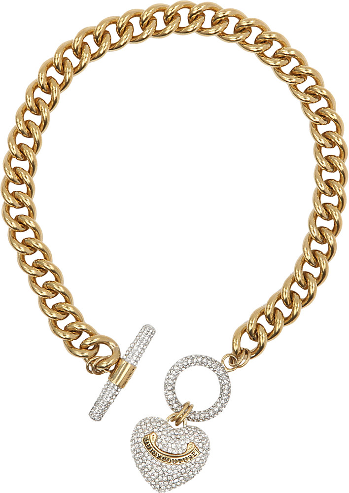 Lyst juicy couture heart toggle necklace in metallic for Juicy couture jewelry necklace