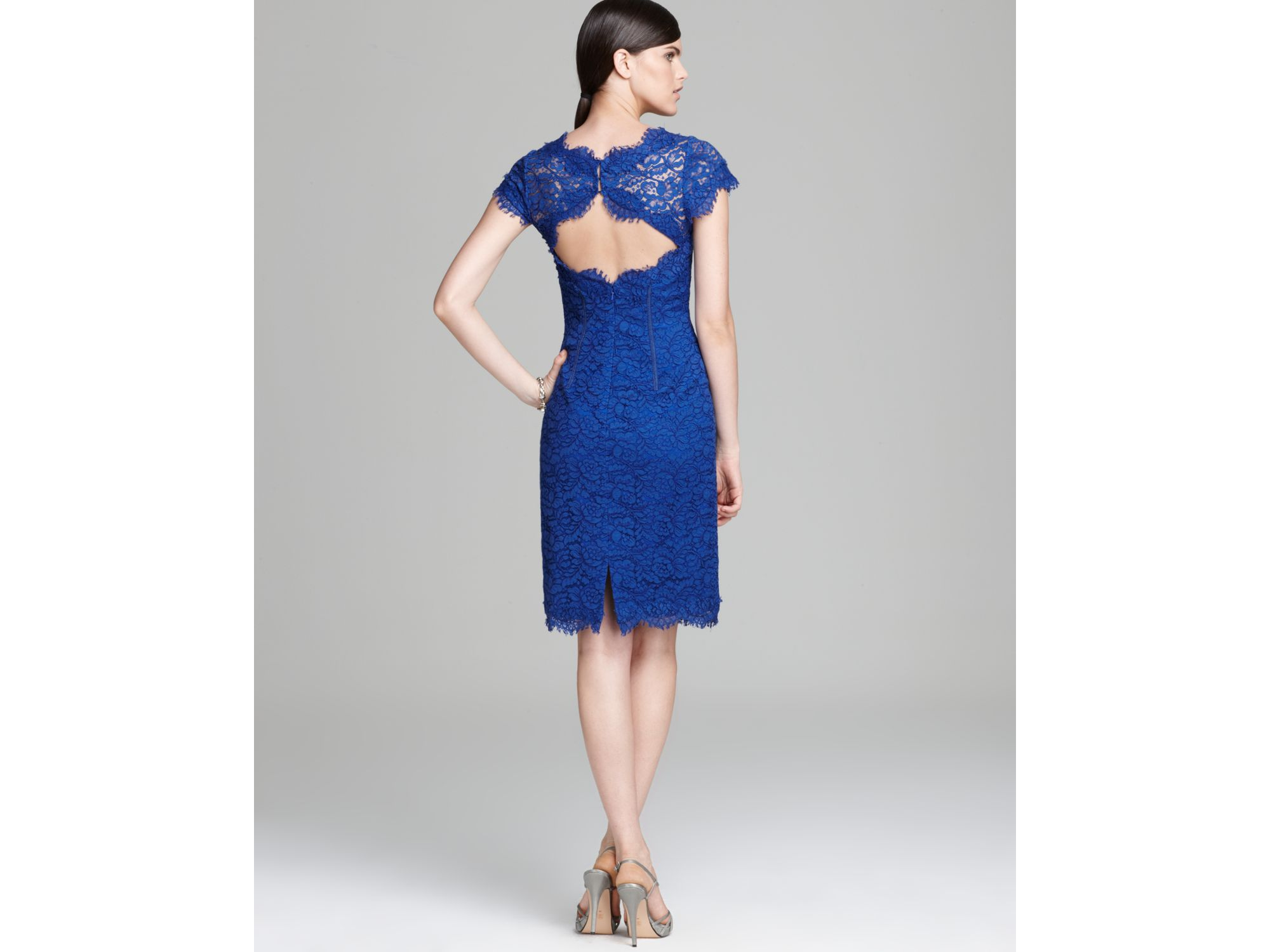 Lyst - Ml monique lhuillier Lace Dress Cap Sleeve Sheath in Blue