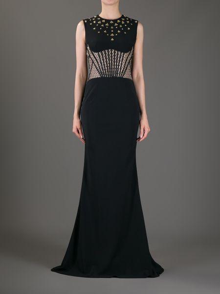 Alexander Mcqueen Bee Studded Evening Gown In Black Lyst
