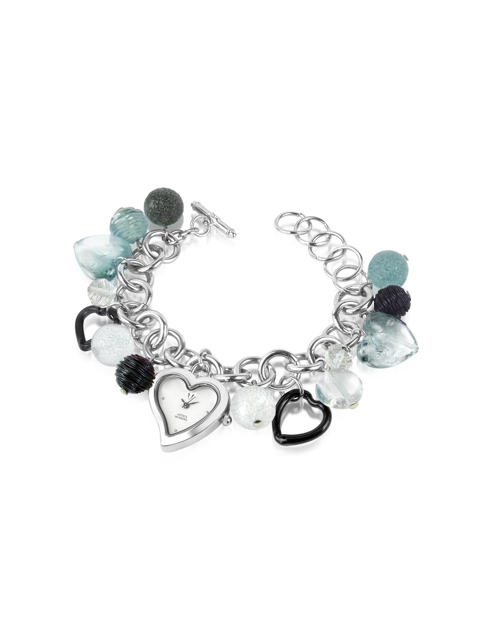 Antica murrina Stardust Murano Glass Heart Charm Bracelet Watch in