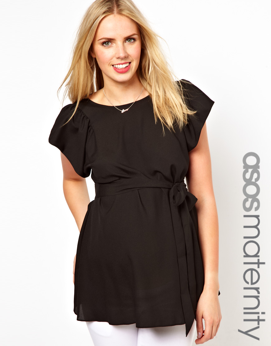 Asos Maternity Blouse with Ruffle Sleeve and Belt in Black ...