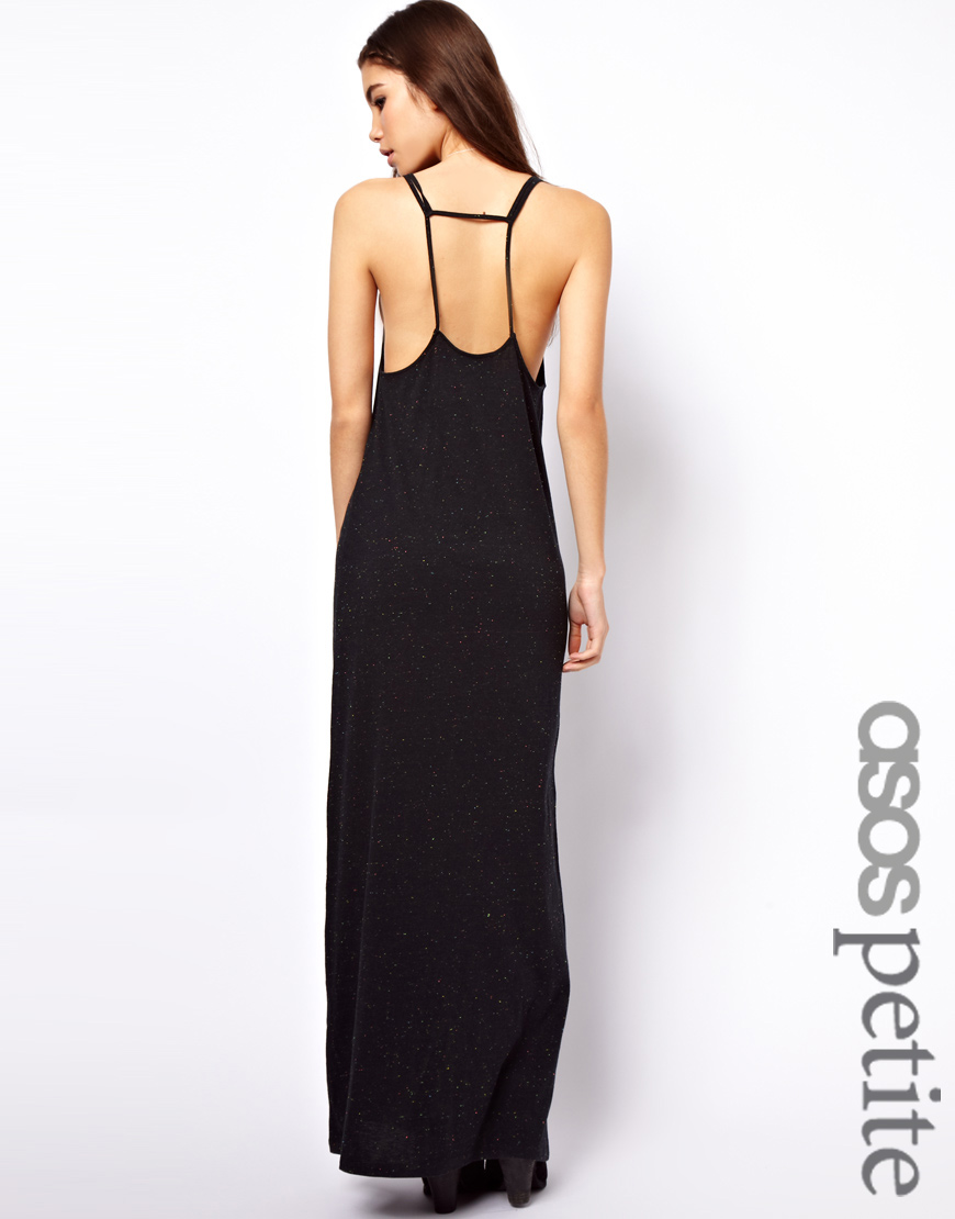 Asos Petite Maxi Dress in Nepi with Strap Detail in Black | Lyst