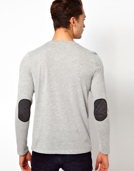 Asos Long Sleeve T Shirt With Contrast Pocket And Elbow