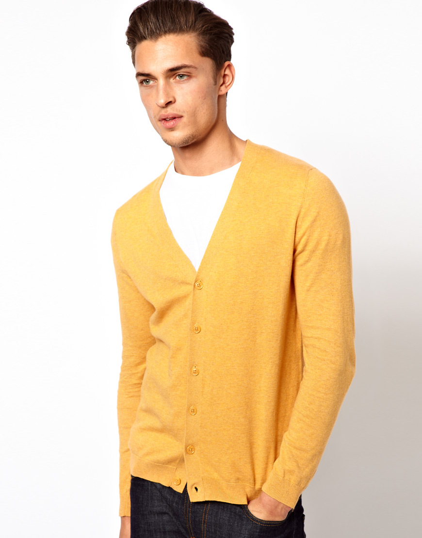 g star raw asos cardigan in yellow for men lyst. Black Bedroom Furniture Sets. Home Design Ideas