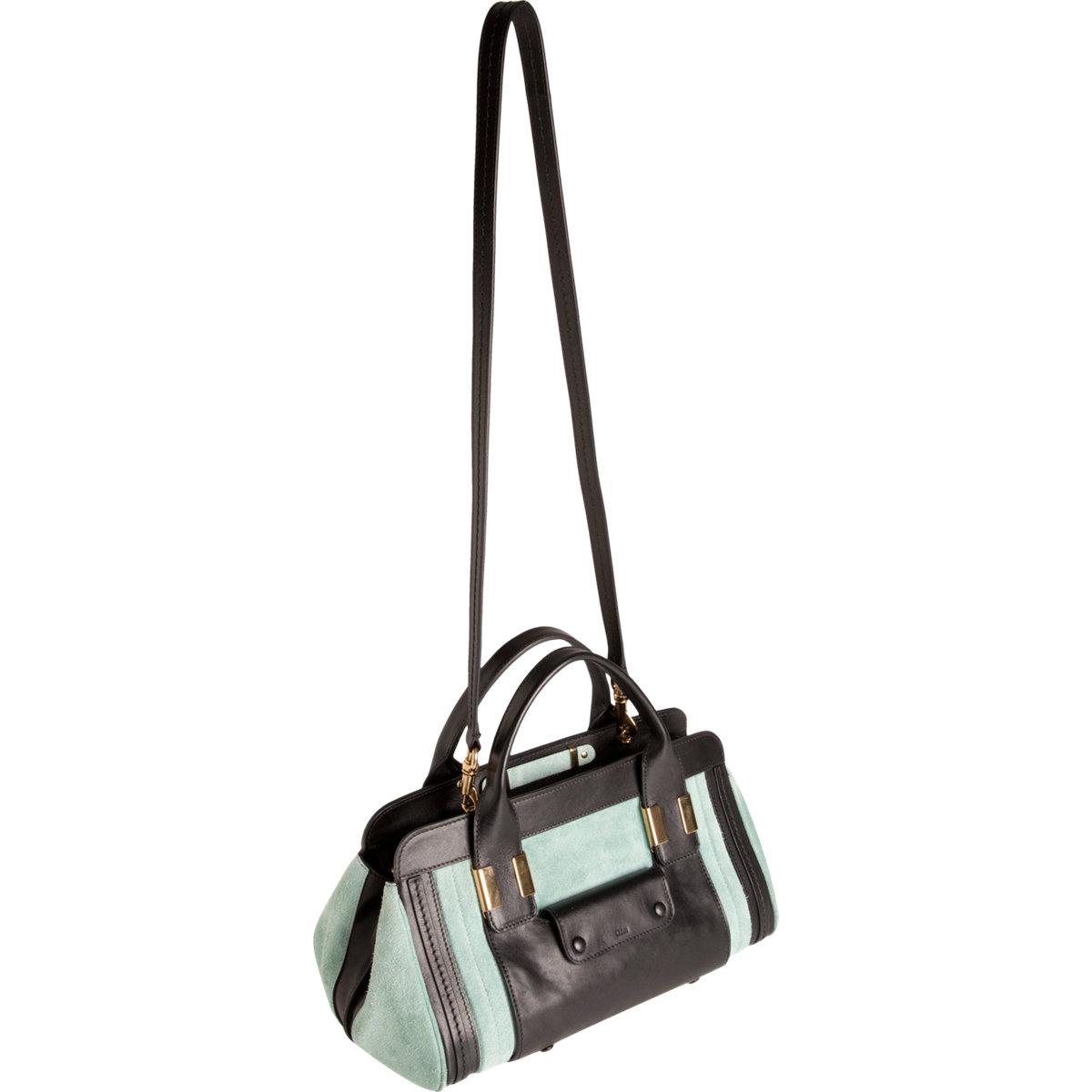 handbags chloe online - Chlo�� Colorblock Suede Small Alice Satchel in Blue (gold) | Lyst