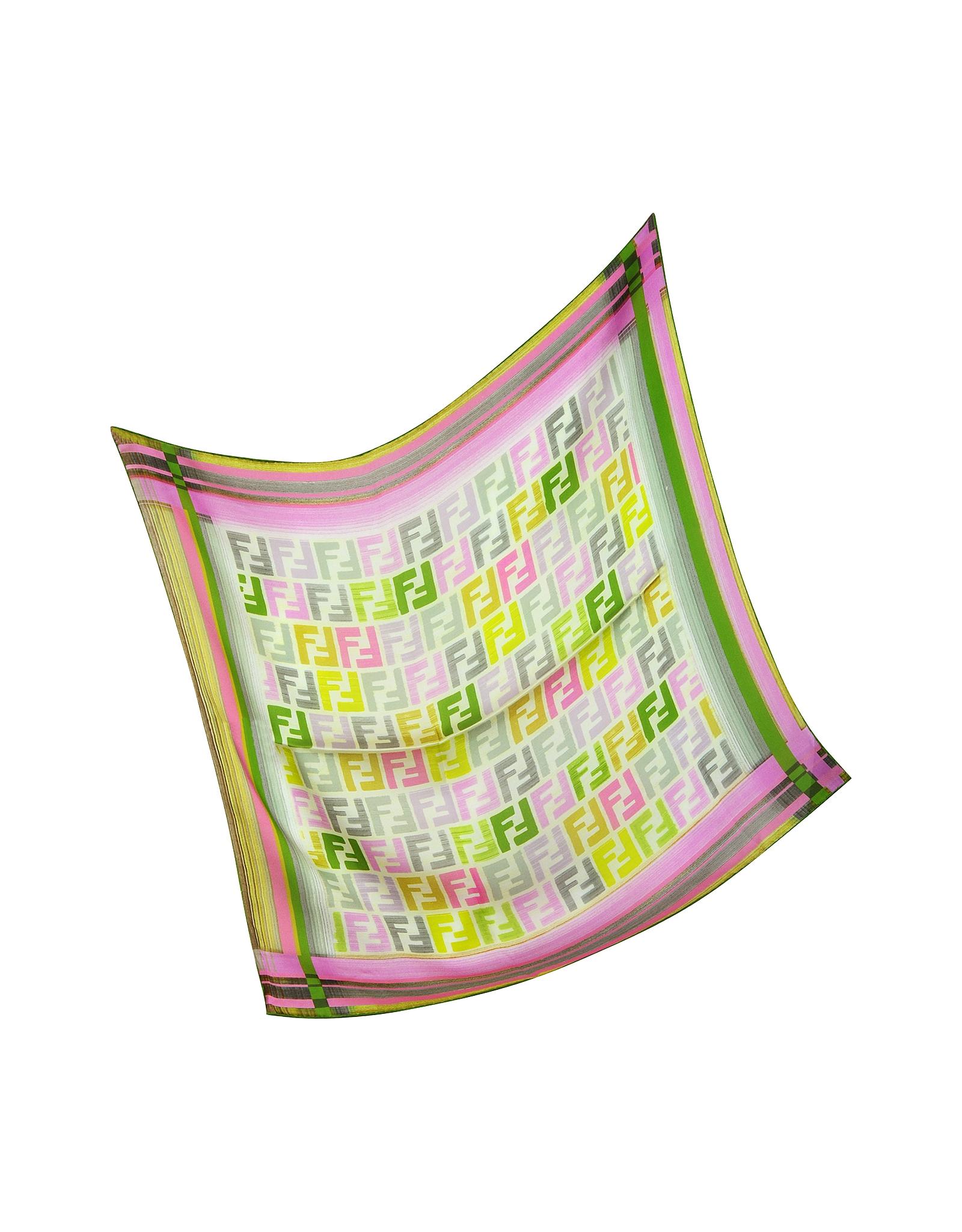 0ff609dfd9ef Lyst - Fendi Zucca Stripe Silk Square Scarf in Green
