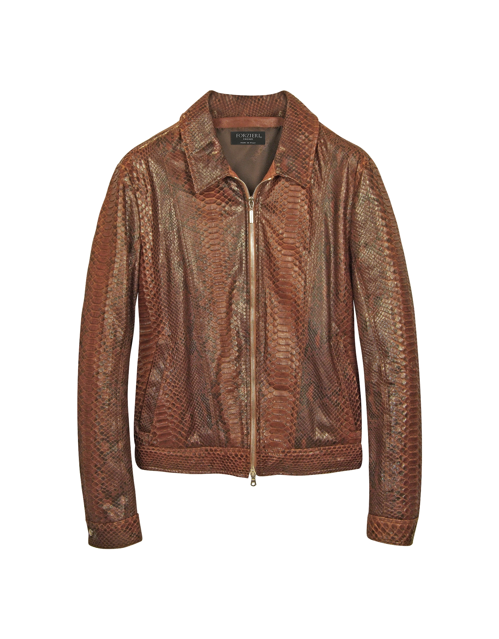 Lyst Forzieri Python Leather Motorcycle Jacket In Brown