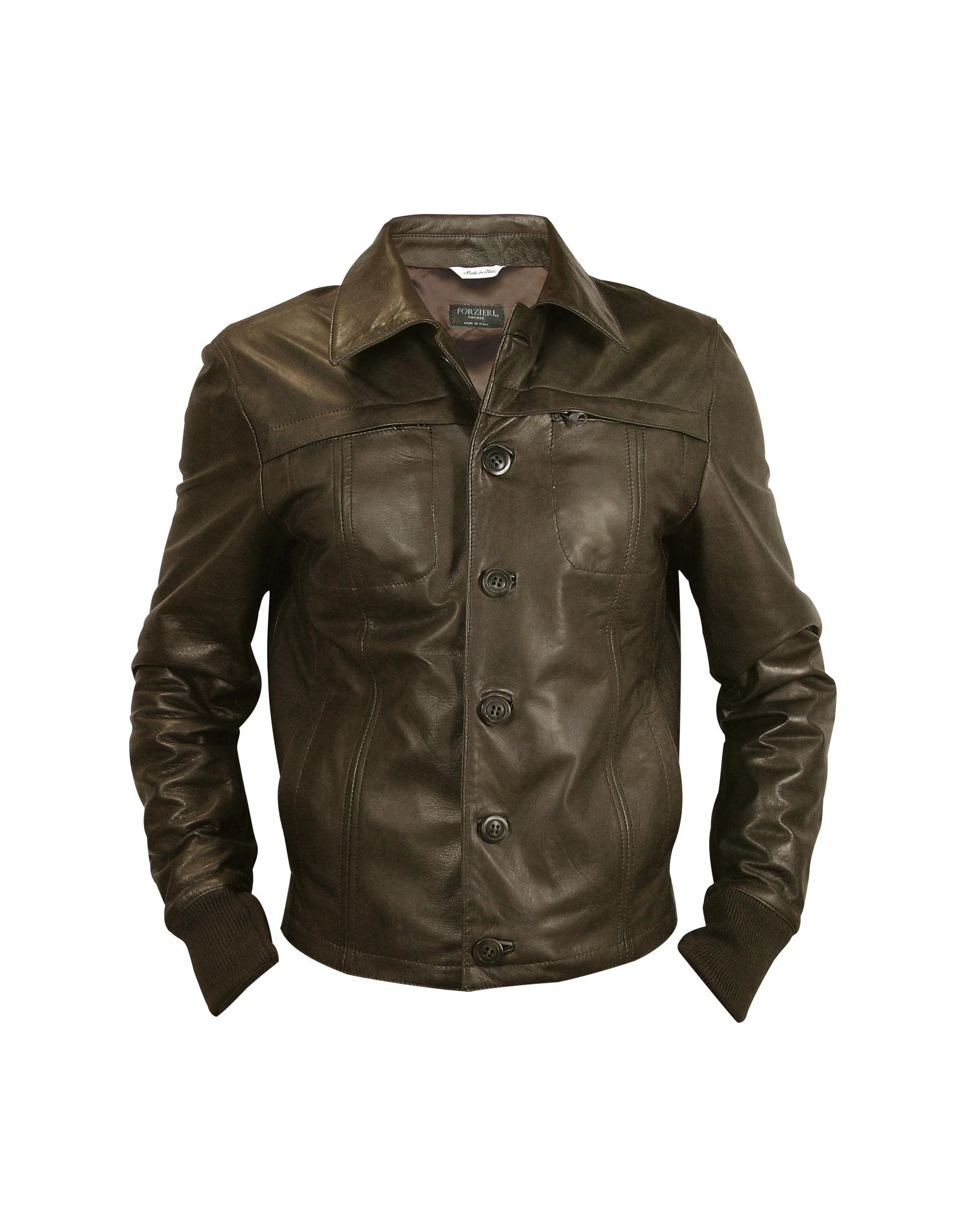 Forzieri Mens Dark Brown Leather Jacket In Green For Men (dark Brown) | Lyst