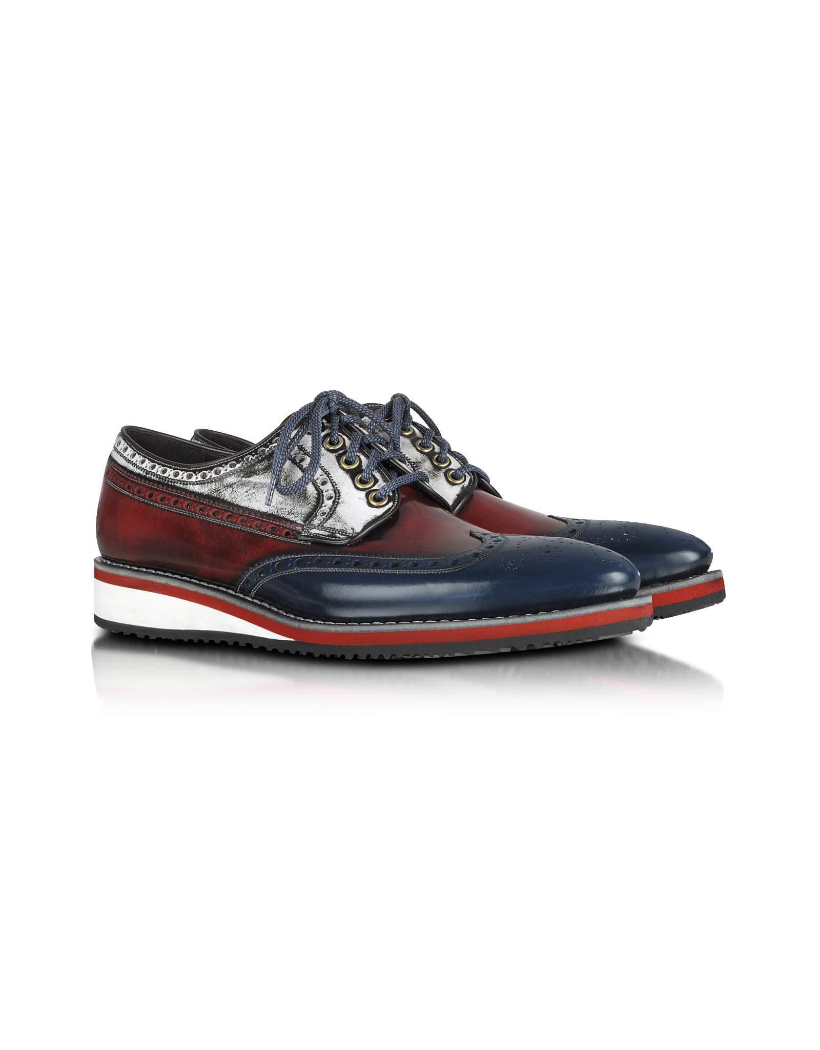 Lyst Forzieri Red White And Blue Leather Wingtip Derby