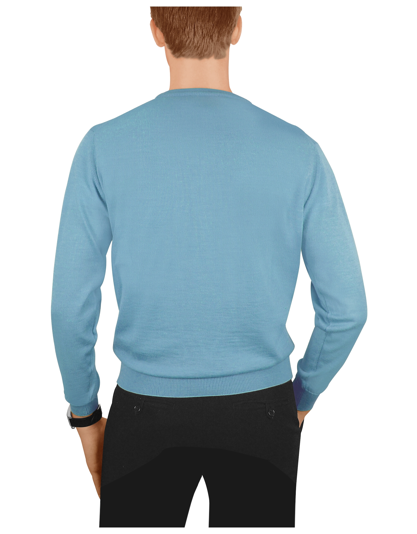 Forzieri Men's Sky Blue Cashmere Crewneck Sweater in Blue for Men ...