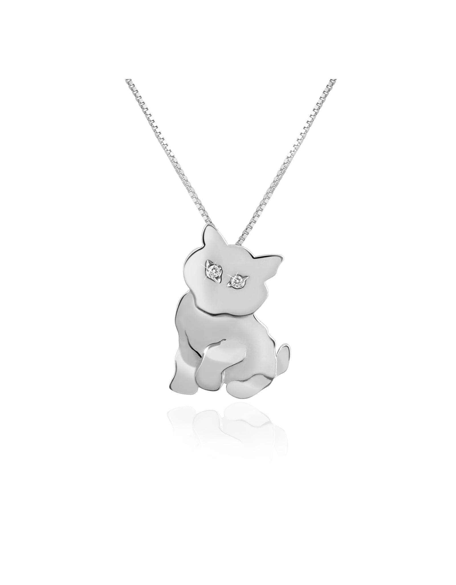 Forzieri Diamond & 18k Gold Cat Pendant Necklace in White