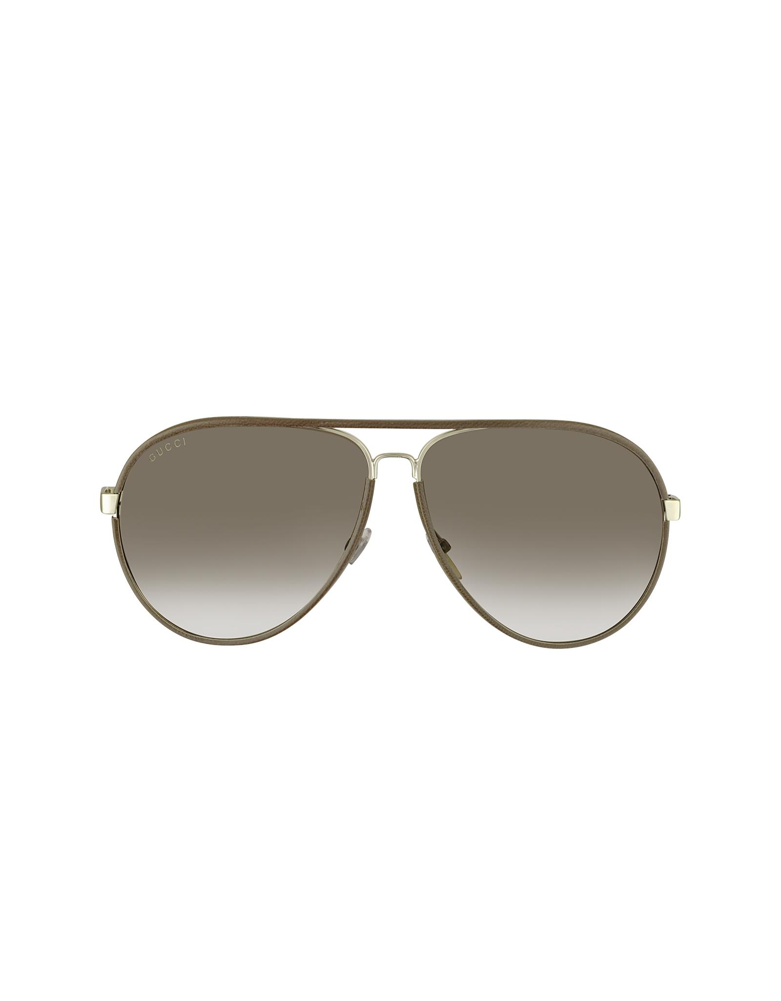 Gucci Sunglasses Leather Frame Aviator : Gucci Mens Logo Leather Aviator Sunglasses in Brown for ...