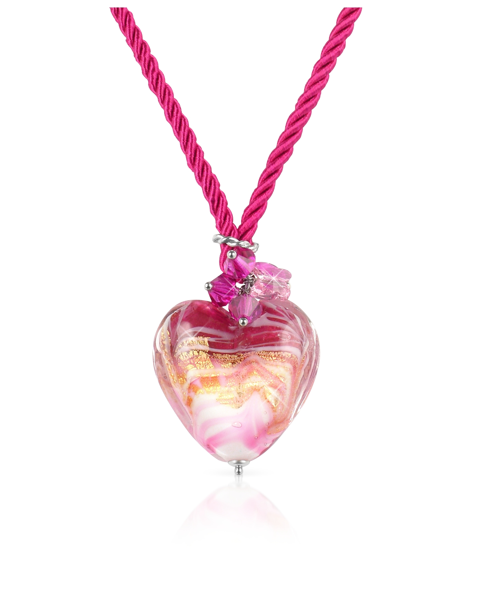 Lyst house of murano mare pink murano glass heart pendant gallery aloadofball Choice Image