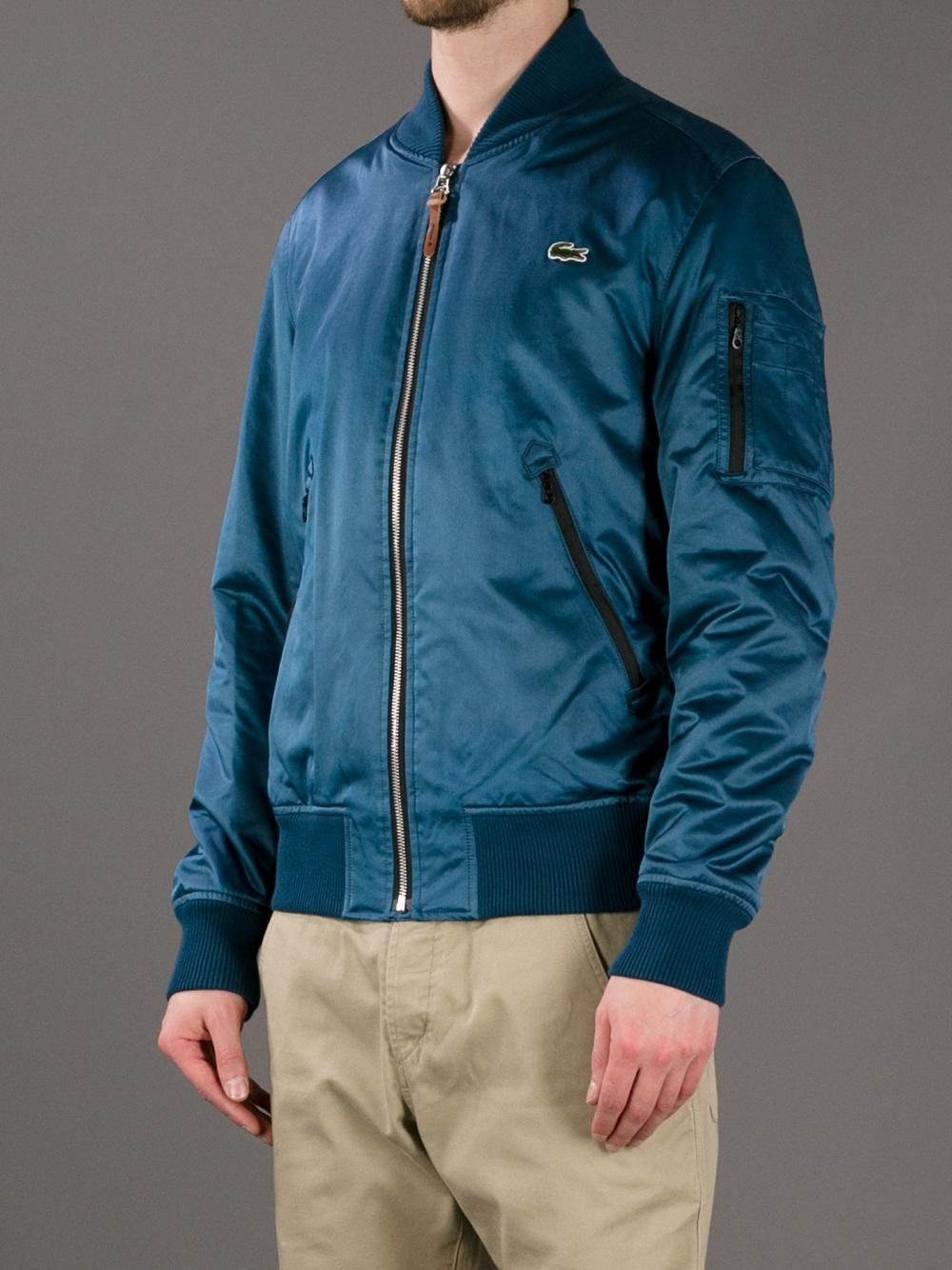 lacoste l ive bomber jacket in blue for men lyst. Black Bedroom Furniture Sets. Home Design Ideas