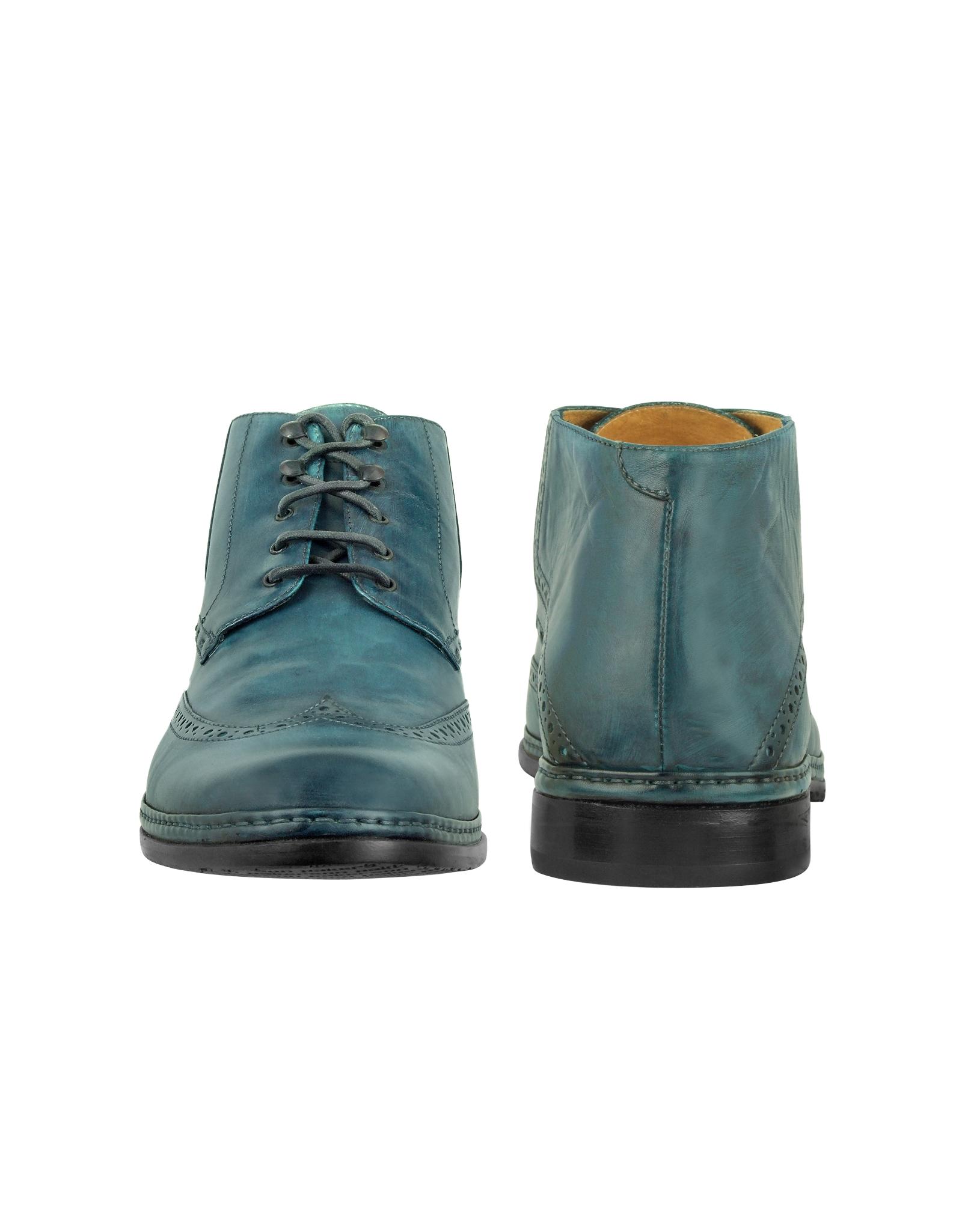 pakerson petrol blue handmade italian leather wingtip