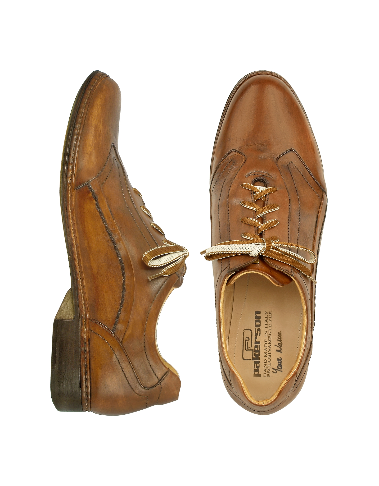pakerson brown italian handmade leather lace up shoes in
