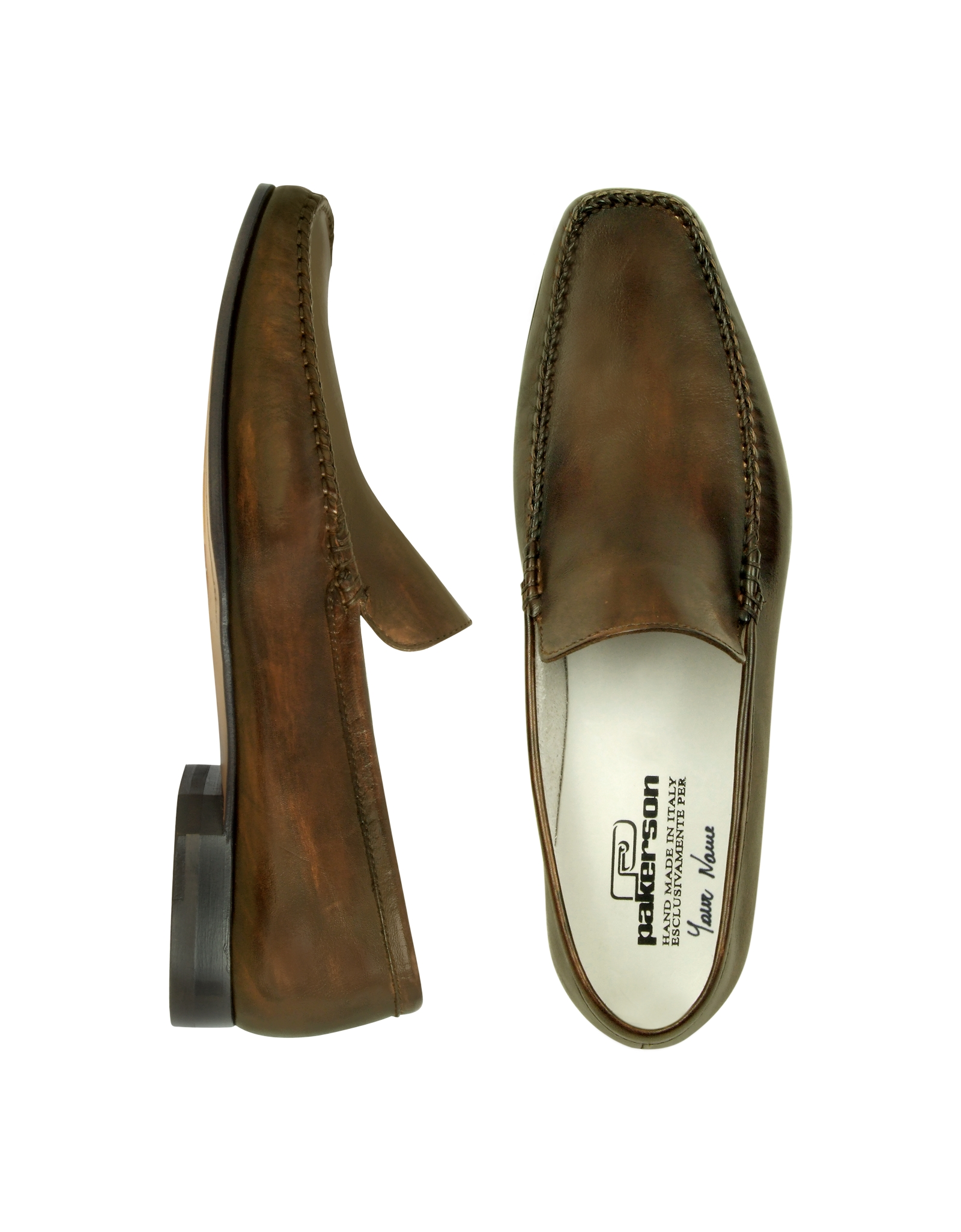 Pakerson Dark Brown Italian Handmade Leather Loafer Shoes ...
