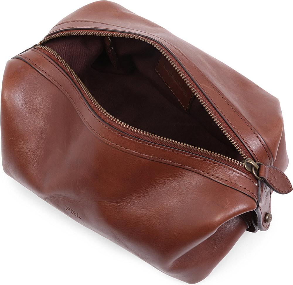 Ralph Lauren Dopp Kit Leather Wash Bag In Brown For Men Lyst