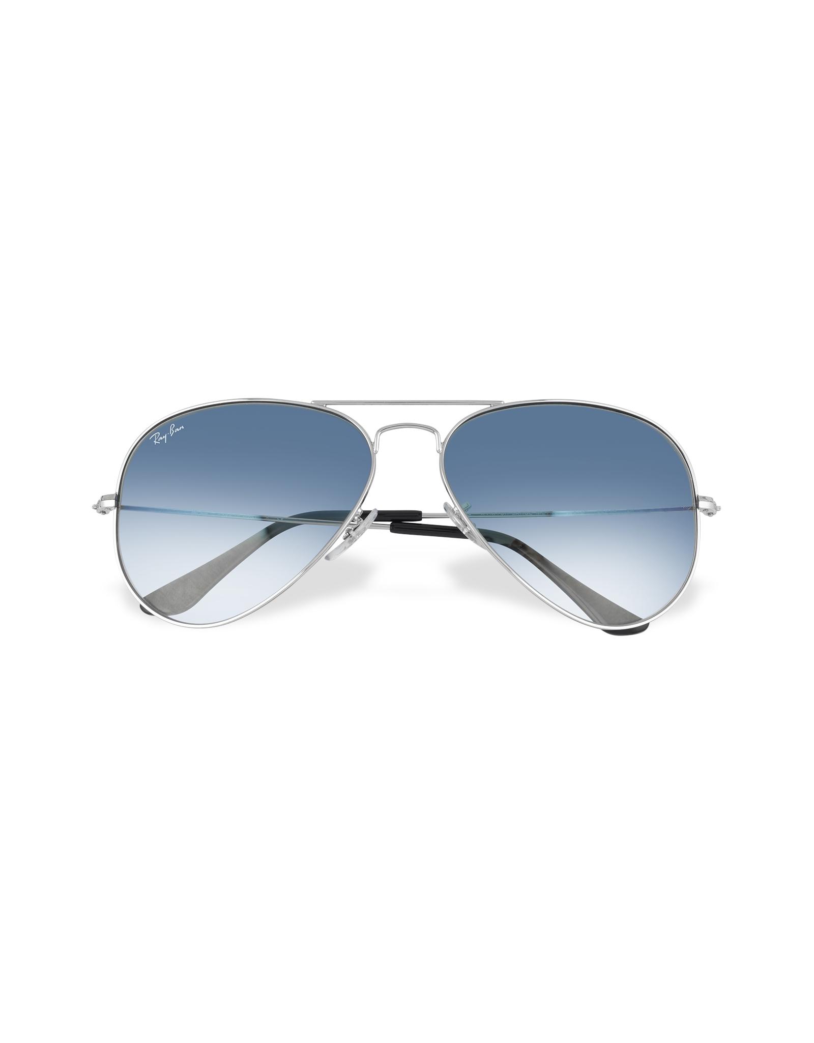 Ray ban aviator silvertone metal sunglasses in metallic - Occhiali ray ban aviator specchio ...